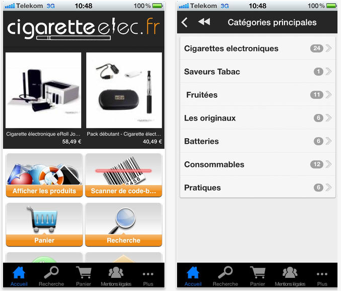 Application cigaretteelec Apple