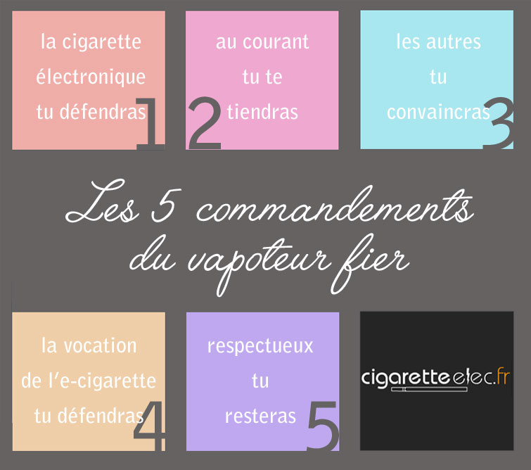 5 commandements du vapoteur