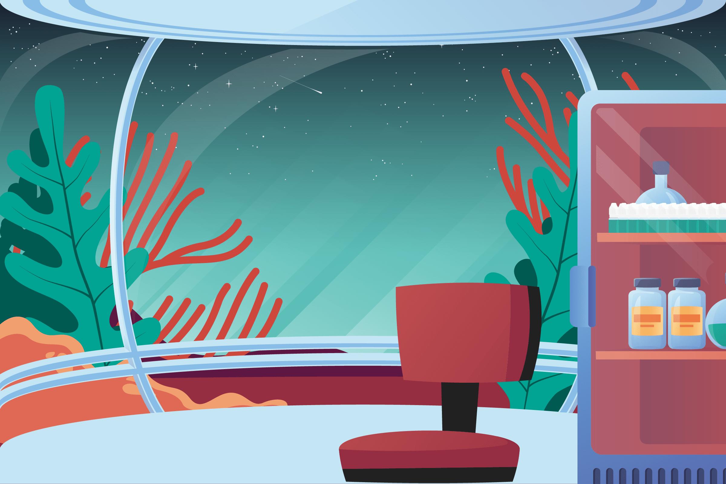 Animation mettant en scène un astronaute en train de réaliserson eliquide diy dans un laboratoire
